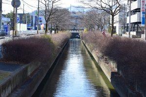釣り人のいる運河