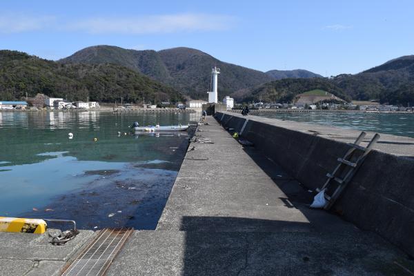 菅浜漁港堤防付け根からの写真