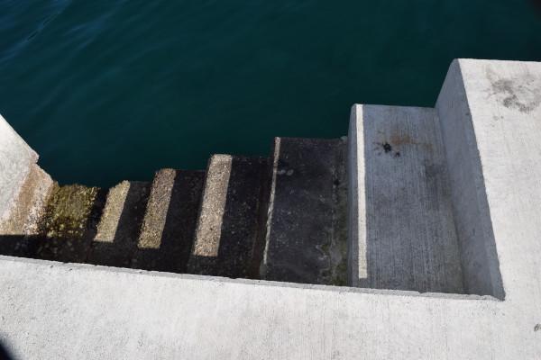 勝浦港の堤防に設置された階段