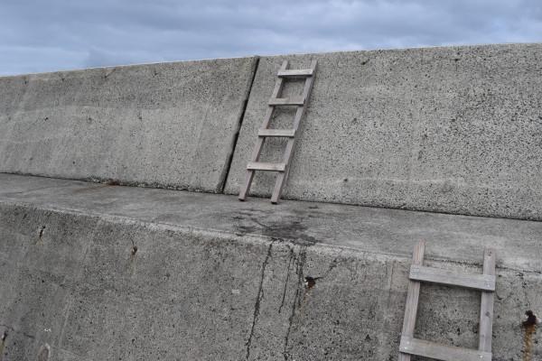 加尾漁港内側の堤防梯子