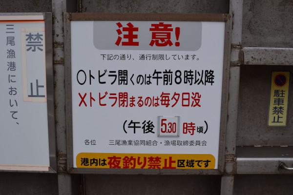 三尾漁港の夜間釣り禁止情報